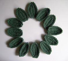 12 Crochet Leave Appliques - Medium Sage Green - Set of 12 - Dozen. $3.80, via Etsy.