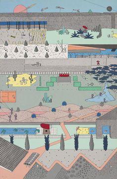 """Alex Wall, Office for Metropolitan Architecture (OMA), """"The Pleasure of Architecture,"""" 1983. Cartel realizado con los dibujos presentados al concurso del Parque de la Villette, París, 1982–83. Serigrafia de color en papel, 30 11/16 x 20 3/16"""". Colección del Archivo de Alvin Boyarsky. © OMA."""