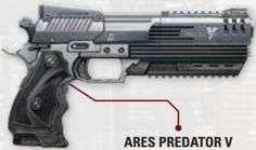 Ares Predator V (wielded in a pair) Anime Weapons, Sci Fi Weapons, Weapon Concept Art, Weapons Guns, Fantasy Weapons, Sci Fi Pistol, Cyberpunk Rpg, Tactical Life, Future Weapons