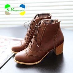 Barato Mulheres Ankle Boots Plus Size 34 43 Lace Up Med Calcanhar Quadrado alta Qualidade Elegante Clássico Mulher Venda Quente Da Moda Inverno Sapatos SB043, Compro Qualidade Botas tornozelo diretamente de fornecedores da China: Mulheres Ankle Boots Plus Size 34-43 Lace Up Med Calcanhar Quadrado alta Qualidade Elegante Clássico Mulher Venda Quente Da Moda Inverno Sapatos SB043