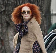 Frances Conroy (Myrtle Snow) on the Coven set. Looking good, Franny!