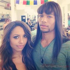 Kat Graham (Bonnie) and Kendrick Sampson (Jesse) on the set of The Vampire Diaries. #TVD