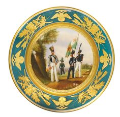 A porcelain plate from a military service, Imperial Porcelain Manufactory, St Petersburg, period of Nicholas I (1825-1855), dated 1840 'The First Infantry Corp / Third Division / A Senior Officer of the Old Germanland Infantry Regiment / A Sublieutenant of the New Germanland Infantry Regiment / Privates of the Jaeger Regiment A Mastersergeant of Duke Kutuzov-Smolenskii / A Musician of the Greater Jaeger Regiment / 1840 / N. Yakovlev'