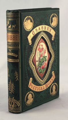 19th century poetry book with deep recessed cover panel c1875 Crabbe's - publ.Gall & Inglis - original publishers binding 'landscape Series of Poets'