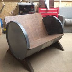 Oil drum sofa by GPFabrications on Etsy https://www.etsy.com/uk/listing/469182380/oil-drum-sofa