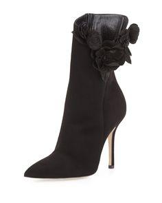 Oscar de la Renta Carmen Suede Flower Ankle Boot, Black