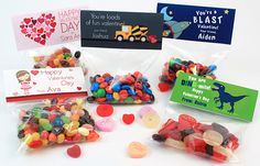 Valentines Candy Bag Toppers - Introducing our latest custom product for Valentine's Day. Custom printed treat bag toppers are a fun way to hand out treats to friends and classmates. Decorated with exclusive Script and Scribble designs, and personalized with your child's name, these will make the holiday even sweeter.