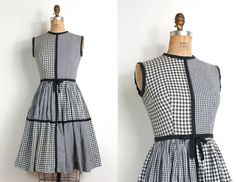 vintage 1950s dress / 50s black gingham day dress by SwaneeGRACE, $128.00