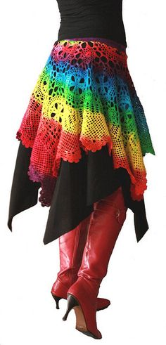 Rainbow crochet skirt - Link to 100 unique crochet skirts Crochet Skirt Pattern, Crochet Skirts, Crochet Clothes, Crochet Patterns, Knitted Skirt, Skirt Patterns, Coat Patterns, Blouse Patterns, Crochet Ideas
