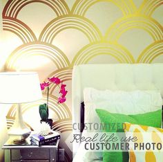 Art Deco Scallop Pattern Decal Wall Decal Custom by danadecals