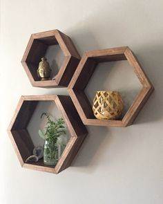 Hexagon Shelves set of 3 by Taute on Etsy