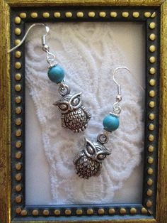 Handmade Wise Owl and Turquoise Silver Earrings, Free Shipping! #Handmade #owl