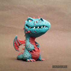 Dragon #46 - ORIGINAL Sculpture - polymer CLAY - 3D version by Buzhandmade on Etsy