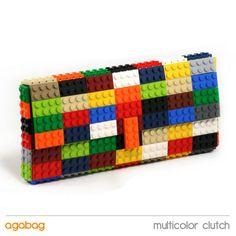 Multicolor clutch made entirely of LEGO bricks. $125.00, via Etsy.