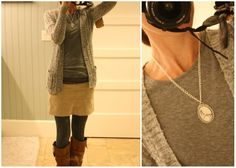 khaki skirt and sweater tights