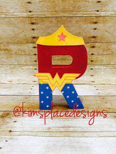 Wonder Woman Letters,  Custom Decor Letters, Superhero Party Decor
