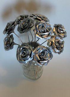 flores metalicas de papel