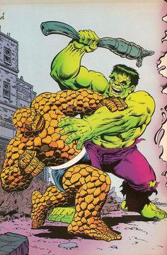 Thing vs Hulk pinup by Jim Starlin from Marvel Fanfare (Jul Marvel Comic Character, Comic Book Characters, Marvel Characters, Comic Books Art, Comic Art, Marvel Comics Superheroes, Hulk Marvel, Marvel Masterworks, Hulk Art