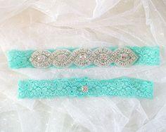 Set of 2 Mint Green Wedding Garter Mint Lace by ChihiroBridal