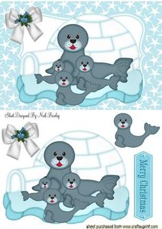 FAMILY OF SEALS IN AN IGLOO on Craftsuprint - Add To Basket! Free Printable Cards, Printable Paper, Free Printables, Christmas Decoupage, Christmas Crafts, Quick Cards, Christmas Animals, Seals, Boy Birthday