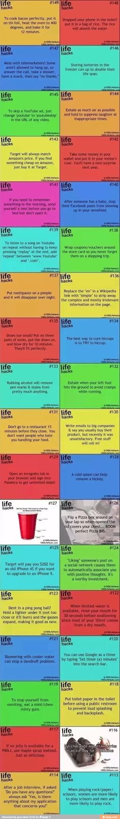 Life hacks... some of these are not so great but most of them are pretty awesome!