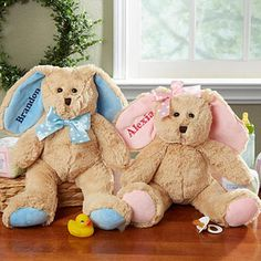 Personalized Stuffed Easter Bunny - PERFECT for their Easter Baskets! They're so cute and fluffy!