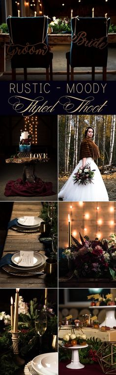 Moody Rustic Fall Wedding Styled Shoot in Alaska. Photos by Brad Tombers Photography. #moody #rustic