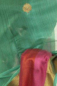 Banarsi- kora cotton light persian sea green saree with blouse