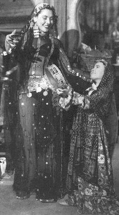 Gypsy dancing and playing tamborine