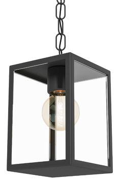 Artikel 11097 Hoe leuk is deze hangende buitenlamp?  Moderne doch sfeervolle buitenlamp gemaakt van gegalvaniseerd staal en uitgevoerd in een zwarte kleur. Het zwarte armatuur is gecombineerd met helder glas. Door het heldere glas is de lichtbron goed waarneembaar en zo creëert u een zeer sfeervol tafereel.http://www.rietveldlicht.nl/artikel/hanglamp-11097
