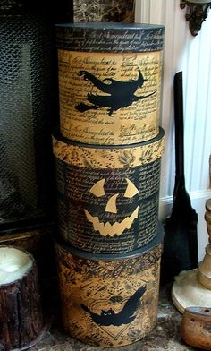 handHpainted Decoupaged Halloween Boxes