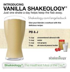 PB&J Vanilla SHAKEOLOGY Recipe!!! Healthy peanut butter and jelly? Everybody got time for that! www.facebook.com/angelabuckfitness If you're interested in redefining your life to become healthier, email me at redefinewithangela@gmail.com. I would love to help you! #redefine #redefinewithangela #redefined #snack #breakfast #lunch #dinner #health #healthy #nutrition #cleaneating #lowcalorie #highprotein #fitness #exercise #workout #weightloss #fitspiration #mealplanning…