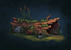 Hollow Log, Sky Flygare on ArtStation at https://www.artstation.com/artwork/hollow-log-78d96677-d4c2-43c4-8d49-c3a6b6ff0164: