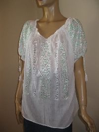 Charming handmade Romanian peasant  blouse, embroidered with pale green silk thread on the finest and  sheer gauze cotton.