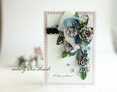 Handmade flowers on a card, from Elena Olinevich for @donnasalazar Blog, featuring #sbadhesivesby3L product line.