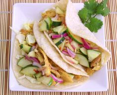 Curry Chicken Tacos with Thai Cucumber Relish