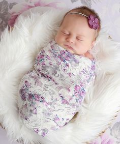 Lil Miss Sweet Pea Lavender Floral Lace Wrap and Hydrangea Headband, baby girl newborn photos