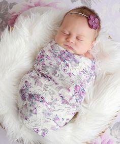 Lil Miss Sweet Pea Lavender Floral Lace Wrap & Hydrangea Headband