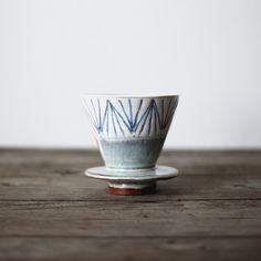 Ceramic v60 style hand thrown coffee dripper
