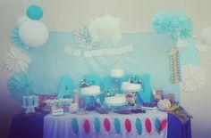 Decoración y mesa de dulces para el bautizo del pequeño Aarón.  #soydecorazon #decorazon #detodocorazon #decoracion #decoraciondeeventos #mesadedulces #mesadepostres #azulyblanco #bautizo #colima