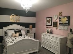 Teen Girls Rooms Fascinating Teen Girl's Room  Gray Striped Walls Black And White Bedding Inspiration