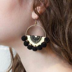 Boucles d'oreilles en dentelle noir -   style bohème