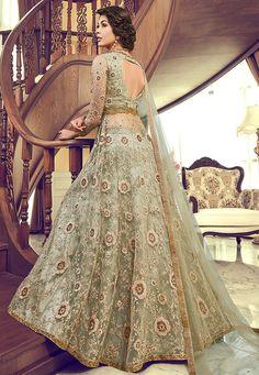 Latest indian party wear salwar kameez for women. Grab this net embroidered and resham work designer salwar suit. Anarkali Lehenga, Silk Lehenga, Party Wear Dresses, Bridal Dresses, Formal Dresses, Bridal Lehenga Online, Lehenga Style, Indian Party Wear, Skirt Fashion