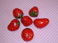 5 juicy red ripe strawberries ready to ship gift for the gardener to keep the birds from eating your good garden berries hand painted rocks by RockArtiste on Etsy, $25.00