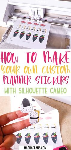 Design Your Own Stickers, Make Your Own Stickers, Diy Stickers, Planner Stickers, Custom Stickers, Making Stickers, Homemade Stickers, Sticker Ideas, Silhouette Cameo Tutorials