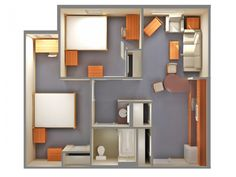 Departamento pequeño Bar Interior, House Layouts, Dorm Room, Shelving, House Plans, Bookcase, House Design, How To Plan, Home Decor