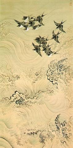 """Swallows and Waves,"" a painting by Okamoto Shuki, 1785–1832, Japan"