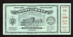 1926 Army Navy football ticket stub dedication of Soldier Field Chicago Army Navy Football, Football Ticket, Army & Navy, Soldier Field, Ticket Stubs, Maryland, Chicago, Game, Gaming