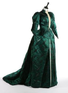 Worth bottle-green brocaded satin gown, c.1890-93