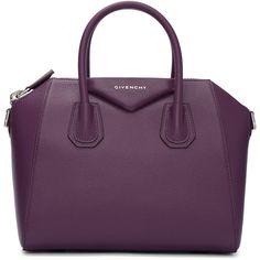 Givenchy Purple Small Antigona Bag (3,065 BAM) ❤ liked on Polyvore featuring bags, handbags, purple, purple purse, studded leather purse, genuine leather handbags, duffel bag and givenchy handbags